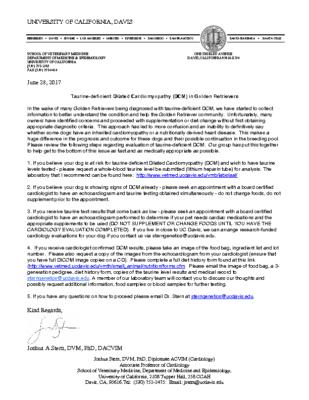 UC DAVIS: Dr. Joshua Stern DCM Taurine letter
