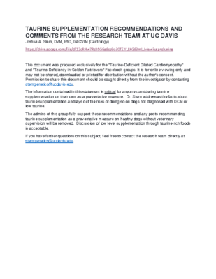 UC DAVIS: Taurine Supplementation Statement
